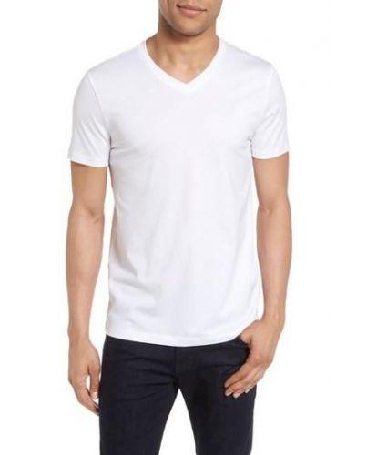 HUGO BOSS Biała Koszulka V-neck