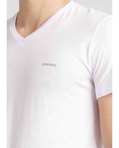 DIESEL Biała Koszulka V-neck Klasyczna