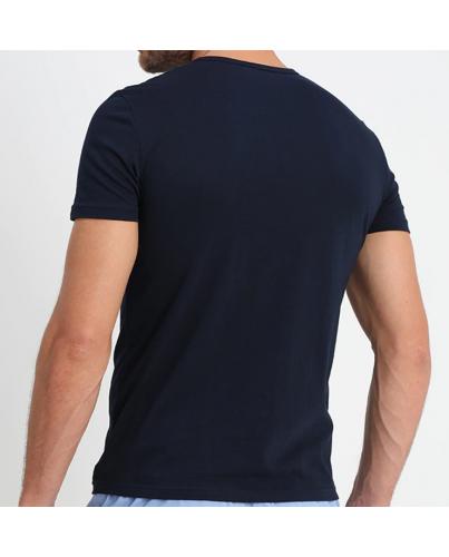 EMPORIO ARMANI Granatowa Koszulka O-neck klasyczna
