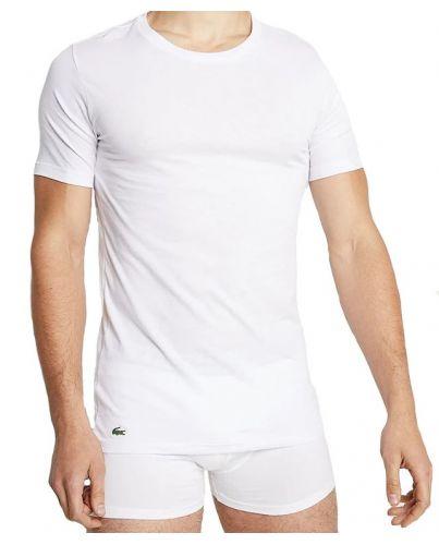 LACOSTE Biała Koszulka O-neck Slim Fit Klasyk