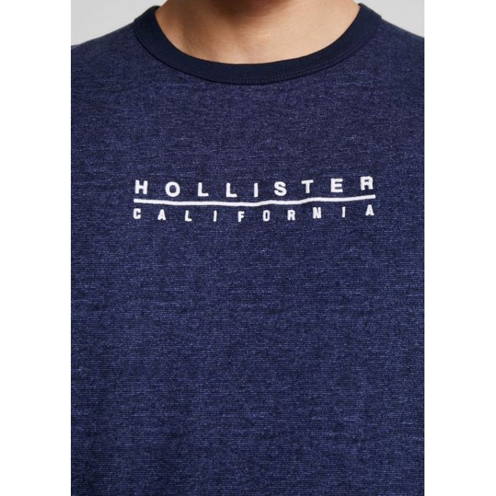 HOLLISTER California Tshirt Męski Haft Granatowy