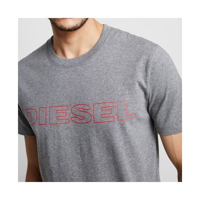 DIESEL Szara Koszulka O-neck Duże Logo