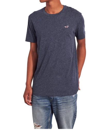 HOLLISTER California Navy Texture Tshirt Granatowa Tekstura O-Neck