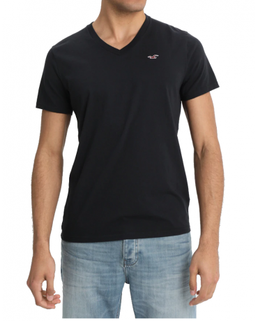 HOLLISTER California Black Tshirt Czarny V-Neck