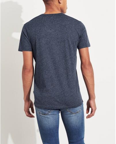HOLLISTER California Navy Texture Tshirt Granatowa Tekstura V-Neck