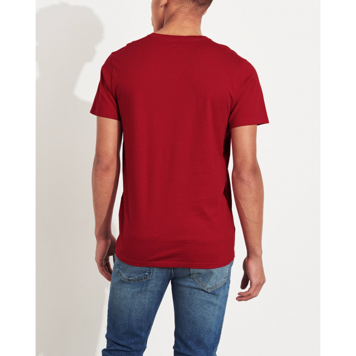 HOLLISTER California Red Tshirt Czerwony V-Neck