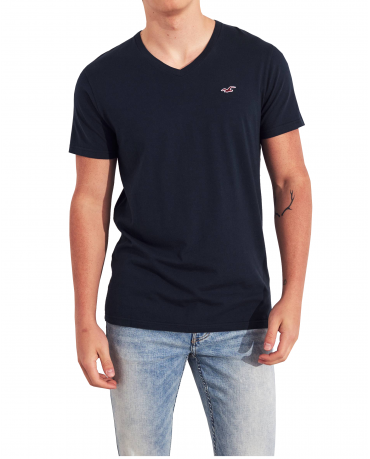 HOLLISTER California Navy Tshirt Granatowy V-Neck