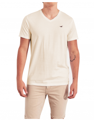 HOLLISTER California Cream Tshirt Kremowy V-Neck