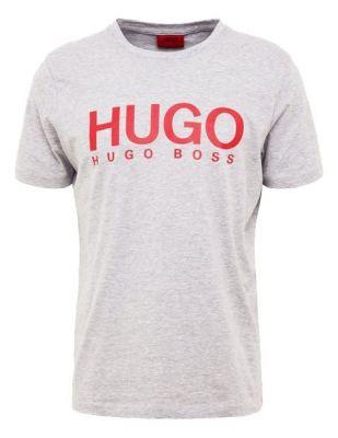 HUGO BOSS Szary T-Shirt Czerwone Logo