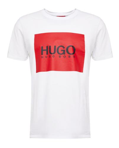 HUGO BOSS Biały T-shirt Czerwony Kwadrat Logo
