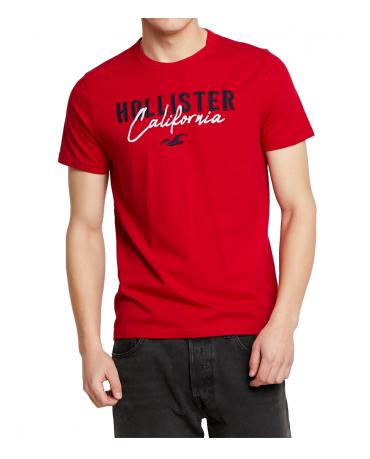 HOLLISTER Red Tshirt Navy White Logo California