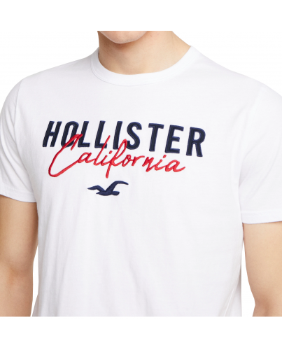 HOLLISTER White Tshirt Navy Red Logo California