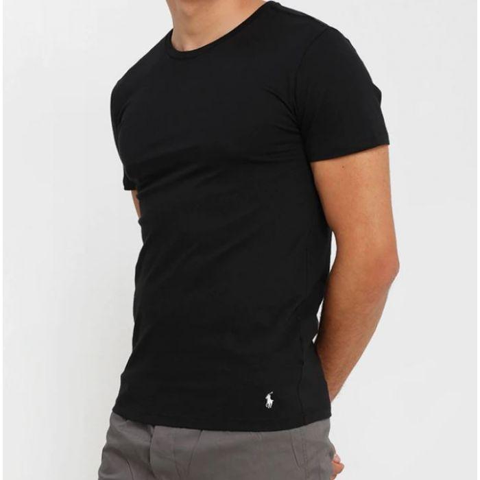 POLO RALPH LAUREN Czarna Koszulka O-neck Klasyczna Białe Logo