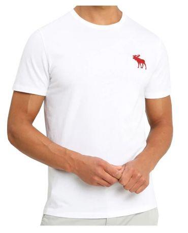 ABERCROMBIE&FITCH Biała Koszulka Duże Czerwone Logo