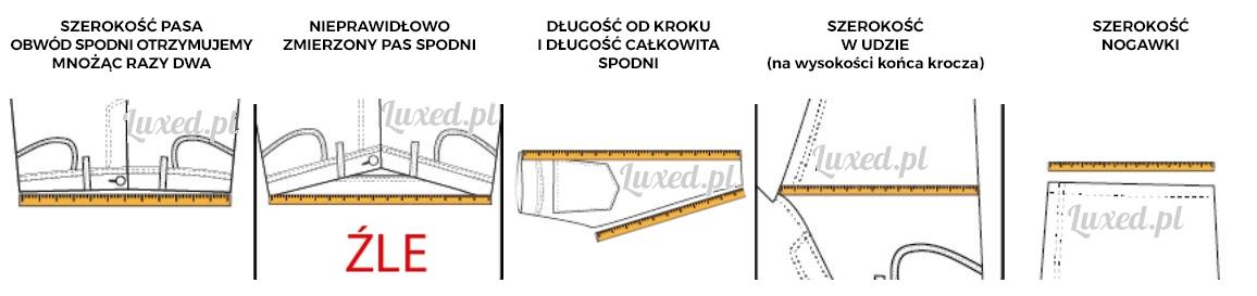 Sposoby mierzenia spodni - rozmiarówka spodni męskich Luxed.pl