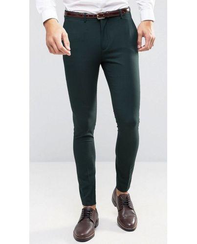 SELECTED _ Ciemno Zielone Spodnie Wizytowe Skinny Fit 36/32
