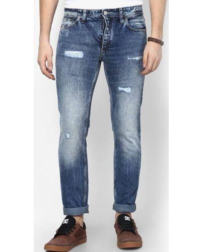 Jack&Jones Niebieskie Jeansy Przetarcia Łaty Slim Fit