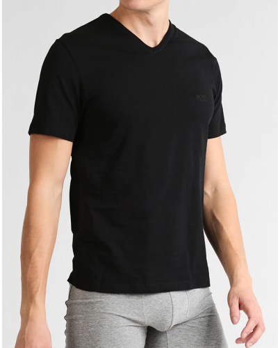 HUGO BOSS Czarna Koszulka V-neck Klasyczna