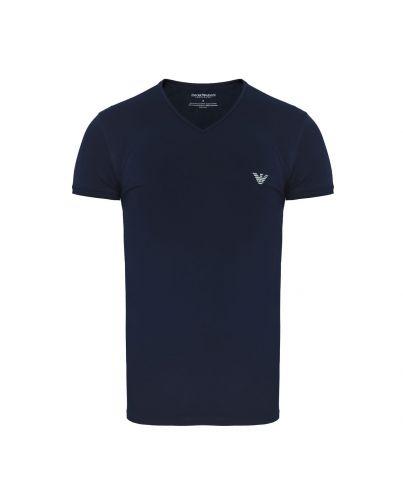 EMPORIO ARMANI Granatowa Koszulka V-neck Slimowana Dopasowana