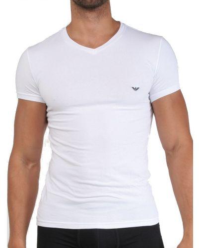 EMPORIO ARMANI Biała Koszulka V-neck Slimowana Dopasowana