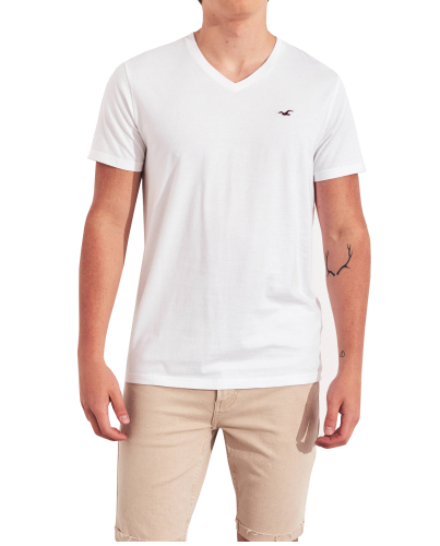 HOLLISTER California White Tshirt Biały V-Neck