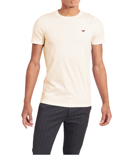 HOLLISTER California Cream Tshirt Kremowy O-Neck
