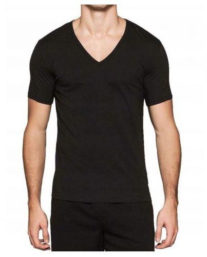 Calvin Klein Black V-Neck Białe Logo