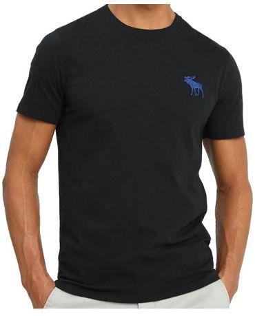 ABERCROMBIE&FITCH Czarna Koszulka Duże Niebieskie Logo