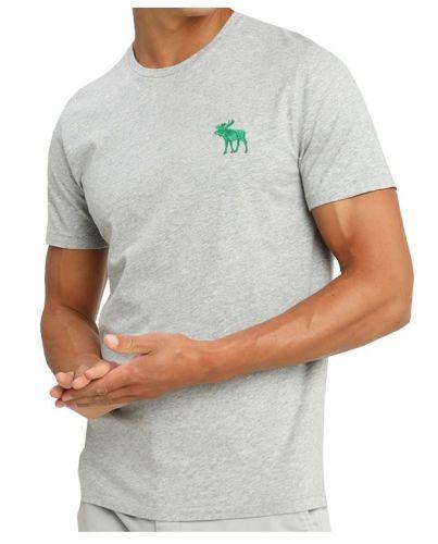 ABERCROMBIE&FITCH Szara Koszulka Duże Zielone Logo