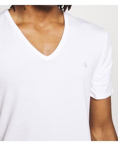 Calvin Klein Biały T-Shirt Serek V-Neck Logo CK