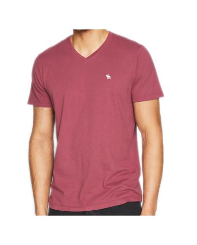 ABERCROMBIE FITCH Burgundowy T-Shirt _ V-Neck _