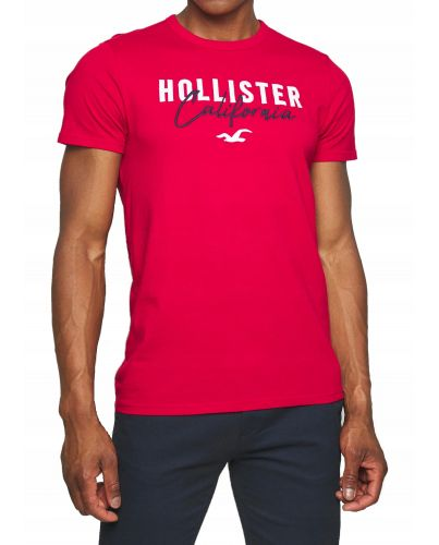 Hollister California Czerwona Koszulka Męska